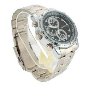 Montre caméra espion 8Go 480P Fashion bracelet en acier grise