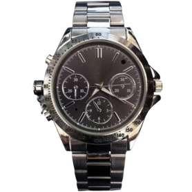 Montre caméra espion 4Go de mémoire bracelet argenté fond noir