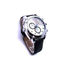 Montre caméra espion HD 1080P 8Go Vision de nuit waterproof simili cuir noir
