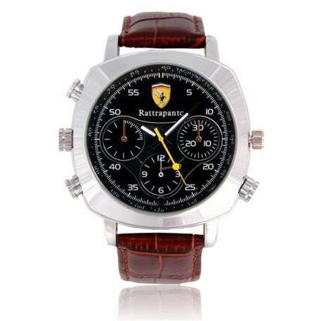 Montre caméra espion 720P HD 8Go bracelet simili cuir marron et noir
