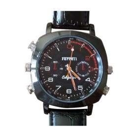 Montre caméra espion 1080P HD 4Go bracelet simili cuit noir croco